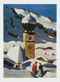 The Church of Aurach - Tyrolian Village Posters av Alfons Walde