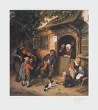 The Village-Fiddler , 1673 Reproduction pour collectionneur par Adriaen Ostade