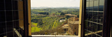 Town Viewed Through a Window, Siena, Siena Province, Tuscany, Italy 写真プリント