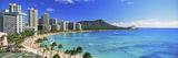 Palm Trees on the Beach, Diamond Head, Waikiki Beach, Oahu, Honolulu, Hawaii, USA Fotografisk trykk