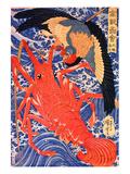 Lobster and Bird Lámina giclée por Kuniyoshi Utagawa