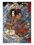 Shimamura Danjo Takanori Riding the Waves on the Backs of Large Crabs Giclée-Druck von Kuniyoshi Utagawa