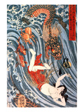 Tamatori Being Pursued by a Dragon Giclee Print by Kuniyoshi Utagawa