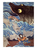 Samurai on the Small Boat Giclée-tryk af Kuniyoshi Utagawa