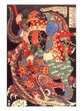 Miyamoto Musashi Killing a Giant Nue Giclée-tryk af Kuniyoshi Utagawa