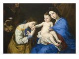 The Holy Family with Saints Anne and Catherine of Alexandria Plakater af Jusepe de Ribera