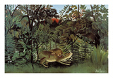 The Hungry Lion Throws Itself on the Antelope Plakater af Henri Rousseau