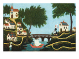 Landscape with Bridge Posters av Henri Rousseau