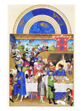 Le Tres Riches Heures Du Duc De Berry - January Poster von Paul Herman & Jean Limbourg