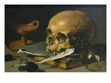 Still Life with a Skull and a Writing Quill, 1628 Posters par Pieter Claesz