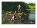 Svømming Poster av Thomas Cowperthwait Eakins