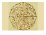 Carte céleste des cieux mythologiques avec le zodiaque Affiches par Sir John Flamsteed