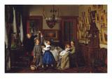 The Contest for the Bouquet: the Family of Robert Gordon in their New York Dining-Room, 1866 Prints by Seymour Joseph Guy