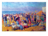 Crowd at the Beach Plakater af William Glackens