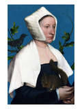 Portrait of a Lady with a Squirrel and a Starling Poster par Hans Holbein the Younger