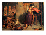 Eve of Saint Agnes; Flight of Madeleine and Porphyro During the Drunkenness Attending the Revelry Print by William Holman Hunt