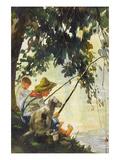Tom Sawyer Fishing Premium gicléedruk van Howard Pyle