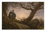 Two Men Contemplating the Moon Posters af Caspar David Friedrich