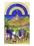 Le Tres Riches Heures Du Duc De Berry - August Plakat af Paul Herman & Jean Limbourg
