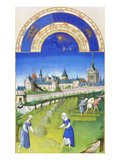 Le Tres Riches Heures Du Duc De Berry - June Poster af Paul Herman & Jean Limbourg