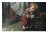 Broken Eggs, Detail of a Child Wiping His Hands Print by Jean-Baptiste Greuze