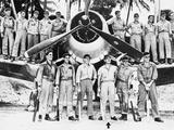 WWII Boyington and Black Sheep Crew 1944 Lámina fotográfica