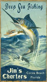 Marlin Fishing Vintage Wood Sign