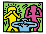 Pop Shop (See No Evil, Hear No Evil, Speak No Evil) Gicléedruk van Keith Haring
