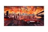 New York City Bridges with Red Corvette Poster par Markus Bleichner