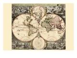 Weltkarte Kunstdruck von Nicolao Visscher