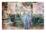 Women Hang Out Laundry to Dry Prints by Berthe Morisot
