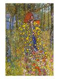 Farmers Garden with Crucifix Poster von Gustav Klimt