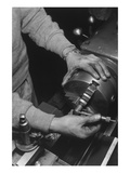 Hands of Lathe Worker Prints by Ansel Adams