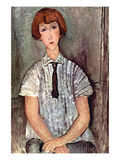 Girl with Blouse Prints by Amedeo Modigliani
