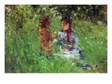 Woman and Child in Garden in Bougival Prints by Berthe Morisot