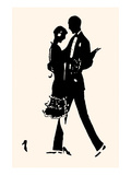 Young Couple in Formal Attire Dance Premium gicléedruk van Maxfield Parrish