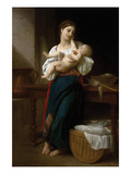 Premiers Caresses Poster by William Adolphe Bouguereau