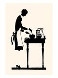 Homemaker Mixes Recipe in a Bowl Premium gicléedruk van Maxfield Parrish
