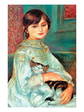 Jilie Manet with Cat Posters av Pierre-Auguste Renoir