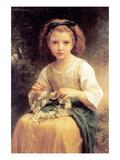 Child Braiding a Crown Poster par William Adolphe Bouguereau