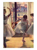 Three Dancers in a Practice Room Plakater af Edgar Degas