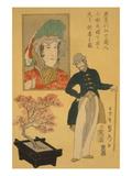 American Merchant Delighted with Miniature Cherry Tree Print by Sadahide Utagawa