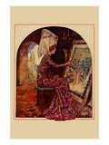 Medieval Girl Sews a Tapestry Art by  Needlecraft Magazine