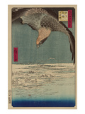 Hawk Flying Above a Snowy Landscape Along the Coastline. Poster par Ando Hiroshige