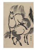 Horses under a Willow Tree. Poster by Shunsen Katsukawa