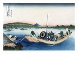 Sunset across Ryogoku Bridge from the Bank of the Sumida River at Onmayyagashi Poster by Katsushika Hokusai