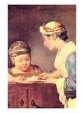 The Young Teacher Art by Jean-Baptiste Simeon Chardin