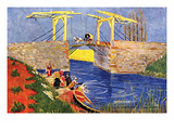 The Langlois Bridge at Arles with Women Washing Prints by Vincent van Gogh