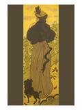 Woman Standing Beside Railing with Poodle Kunstdrucke von Paul Ranson