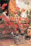 Rote Geranien Poster von Childe Hassam